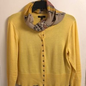 Cropped yellow button down sweater